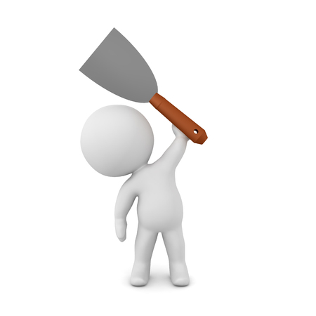 3D Character holding up paint scraper spackle. 3D Rendering isolated on white.