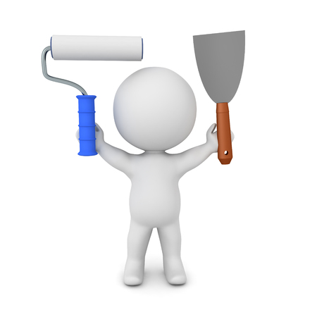 3D Character holding paint scraper and paint roller. 3D Rendering isolated on white. Фото со стока - 124543440