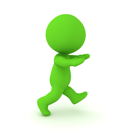 3D Rendering of green zombie walking. 3D Rendering isolated on white. Stok Fotoğraf - 124543527