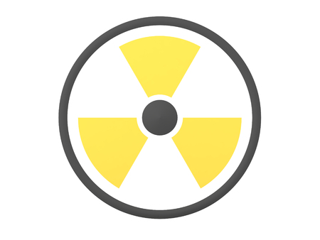 3D Rendering of radioactive danger sign. 3D Rendering isolated on white. Stockfoto