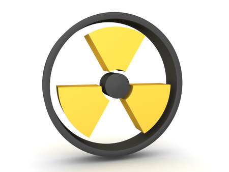 3D Rendering of yellow radioactive symbol. 3D Rendering isolated on white.