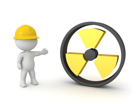 3D Worker showing radioactive symbol. 3D Rendering isolated on white. Stockfoto