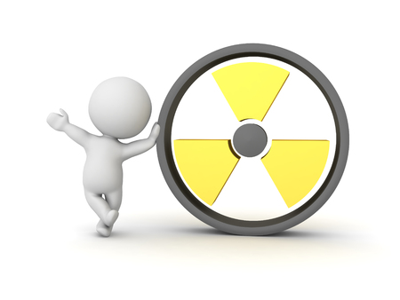 3D Character leaning on radioactive symbol. 3D Rendering isolated on white.