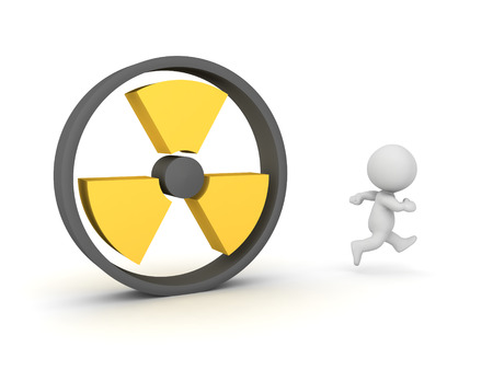 3D Character running away from radioactive sign. 3D Rendering isolated on white.