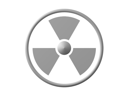 3D Rendering of radioactive sign. 3D Rendering isolated on white.