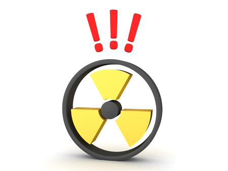 3D Rendering of radioactive symbol with exclemation points above. 3D Rendering isolated on white. Stockfoto