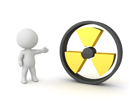 3D Character showing radioactive danger symbol. 3D Rendering isolated on white.