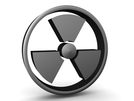 3D Rendering of grey radioactive symbol. 3D Rendering isolated on white.