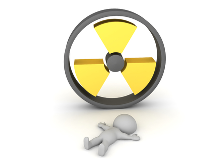 3D Character lying on floor in front of radioactive logo. 3D Rendering isolated on white. Stockfoto