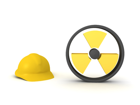 3D Rendering of worker hat and radioactive sign. 3D Rendering isolated on white. Stockfoto