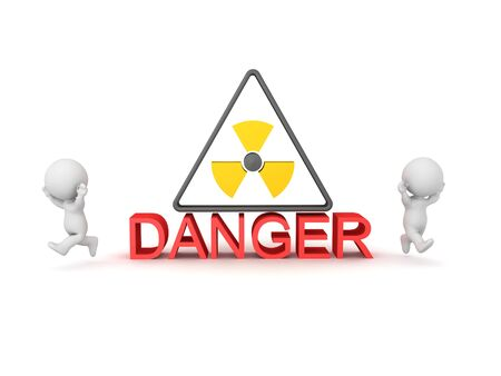 3D Character running away from radioactive sign with danger text. 3D Rendering isolated on white.
