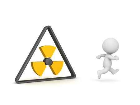 3D Character running away from triangular radioactive sign. 3D Rendering isolated on white.