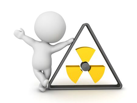 3D Character leaning on radioactive logo. 3D Rendering isolated on white.