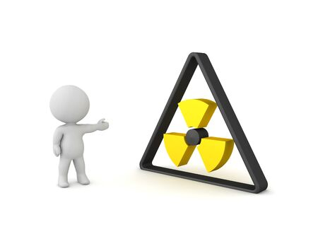3D Character showing black and yellow radioactive sign. 3D Rendering isolated on white.