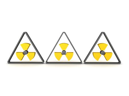 3D Rendering of three radioactive symbols. 3D Rendering isolated on white. Stockfoto