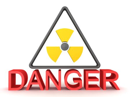 3D rendering of radioactive sign with the text Danger below. 3D Rendering isolated on white.