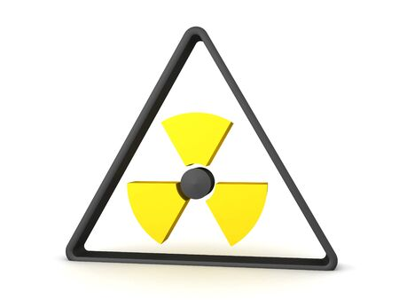 3D Rendering of black and yellow radioactive sign. 3D Rendering isolated on white. Stockfoto