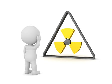 3D Character looking concerned at triangular radioactive sign. 3D Rendering isolated on white. Stockfoto