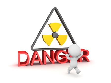 3D Character running away from radioactive danger sign. 3D Rendering isolated on white.