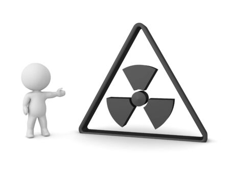 3D Character showing triangular radioactive sign. 3D Rendering isolated on white.