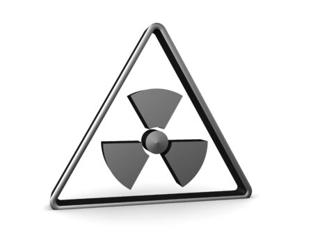 3D Rendering of radioactive warning sign. 3D Rendering isolated on white.