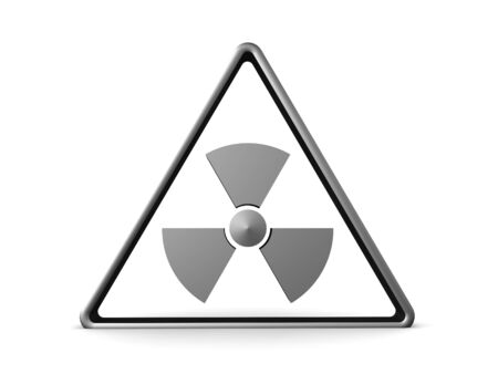 3D Rendering of triangular radioactive sign. 3D Rendering isolated on white.