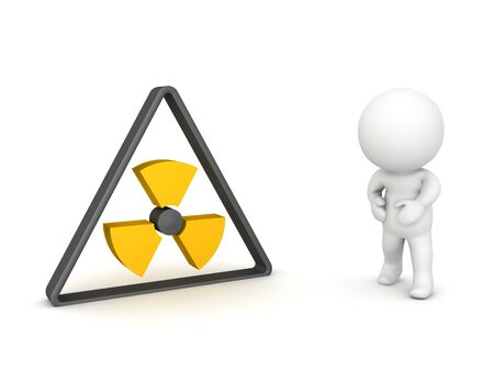 3D Character feeling sick next to radioactive logo. 3D Rendering isolated on white.