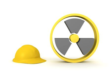 3D Rendering of yellow radioactive sign and hard hat. 3D Rendering isolated on white.