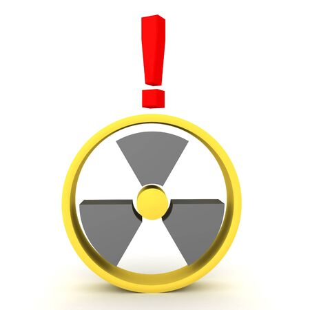3D Rendering of radioactive sign with exclamation point above. 3D Rendering isolated on white.