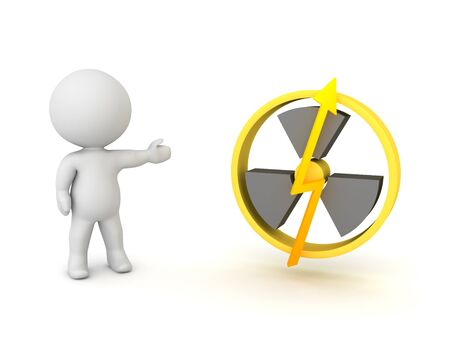 3D Character showing nuclear power logo. 3D Rendering isolated on white.