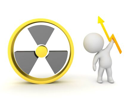 3D Rendering promoting nuclear energy. 3D Rendering isolated on white. Stockfoto