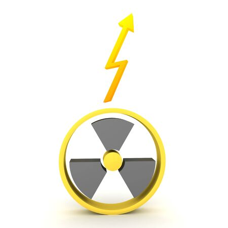 3D Rendering of nuclear energy symbol and lightining above. 3D Rendering isolated on white. Stockfoto