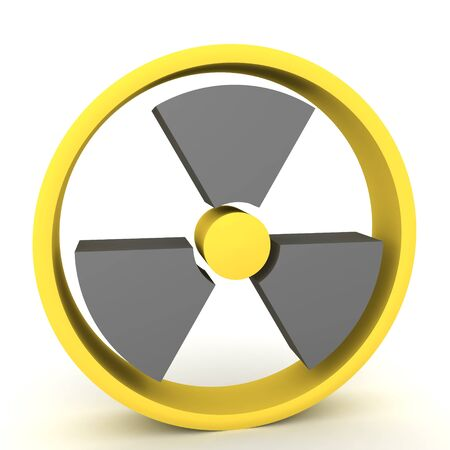3D Rendering of yellow and black radioactive sign. 3D Rendering isolated on white. 写真素材