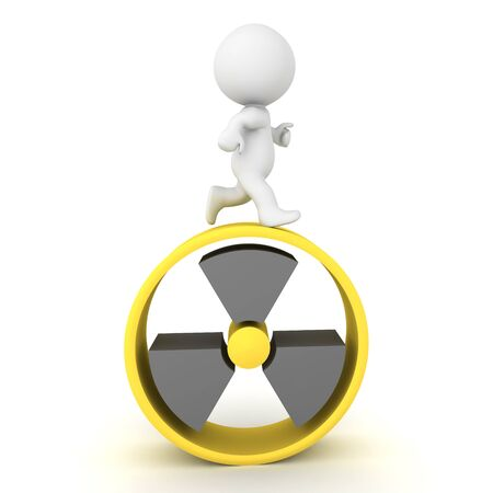 3D Character running on top of nuclear power symbol. 3D Rendering isolated on white. Stockfoto