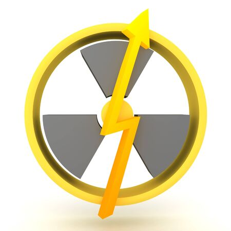 3D Rendering of nuclear energy power symbol. 3D Rendering isolated on white. Stockfoto