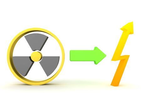 3D Rendering of nuclear power being transformed into energy concept. 3D Rendering isolated on white.