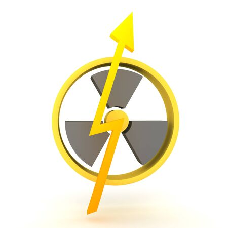 3D Rendering of lightning bolt in front of nuclear power sign. 3D Rendering isolated on white. Stockfoto