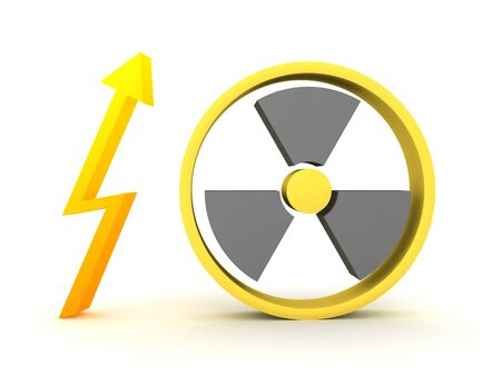 3D Rendering of nuclear energy logo. 3D Rendering isolated on white.