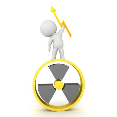 3D Character standing on top of nuclear sign and holding lightining bolt in hand. 3D Rendering isolated on white.
