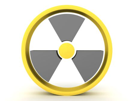 3D Rendering of circular radioactive sign. 3D Rendering isolated on white. 写真素材