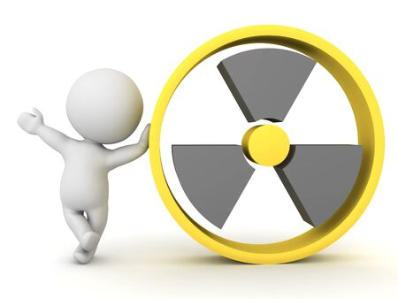 3D Character leaning on nuclear power sign. 3D Rendering isolated on white.