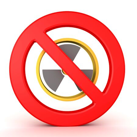 3D Rendering of nuclear power symbol with forbidden sign in front. 3D Rendering isolated on white.