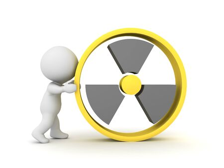 3D Character holding nuclear power sign. 3D Rendering isolated on white.