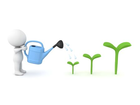 3D Character watering plant in order for it to grow. 3D rendering isolated on white.