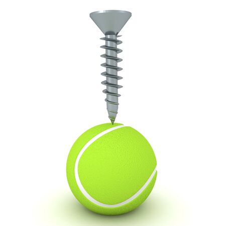 3D Rendering of ball with a screw above it. 3D Rendering isolated on white. Reklamní fotografie