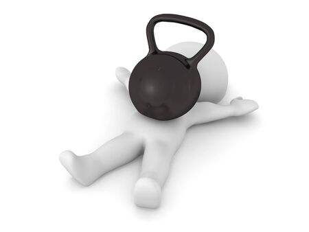 3D Character stuck under big kettlebell. 3D Rendering isolated on white.