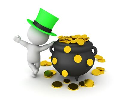 3D Rendering of leprechaun leaning on pot of gold. 3D Rendering isolated on white. Stock Photo