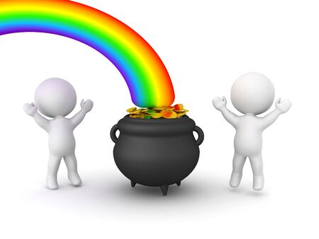 3D Characters are happy next to pot of gold at the end of the rainbow. 3D Rendering isolated on white.