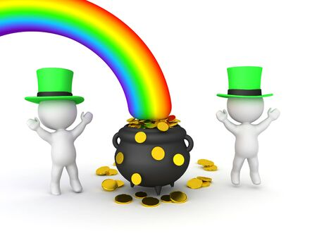3D Rendering of leprechauns dancing around pot of gold. 3D Rendering isolated on white.