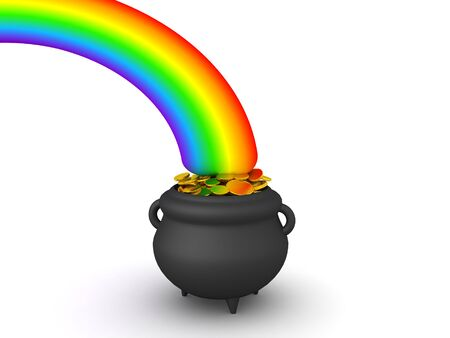 3D Rendering of pot of gold at the end of the rainbow. 3D Rendering isolated on white.